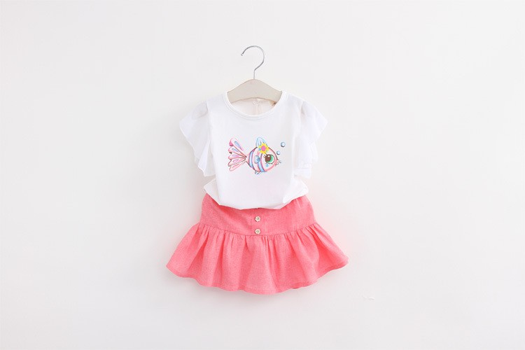 Kids Dresses for Girls Style Summer Clothes 2 Pieces Sets Cartoon Skirt Cute Quality Princess Teenagers Mini Dress Clothing