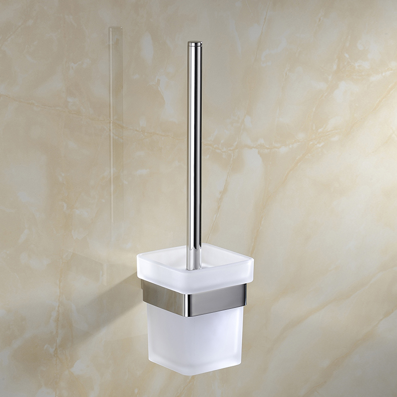 Solid Design Modern Wall Mounted Sus 304 Stainless Steel Glass Cup Square Bathroom Accessories Toilet Brush Holder(China (Mainland))