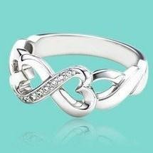 FSR049 Fashion 925 Sterling Silver CZ Heart Ring Infinity Rings Wholesale 925 Sterling Silver Jewelry Free Shipping