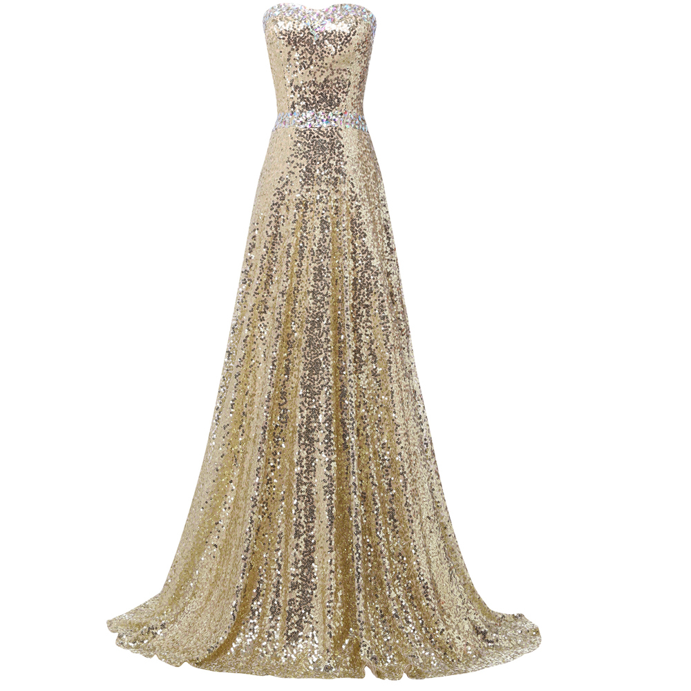 2016 New! Women A Line Floor Length Celebrity dresses Formal Party Gold Prom dress Long Evening ...