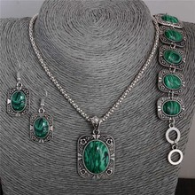 Free Shipping classic green cubic shape elegant  jewelry set of necklace/ bracelet /earrings Mix Options(China (Mainland))