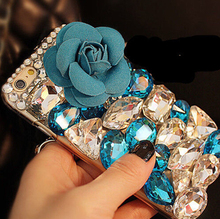 3D Flower Rhinestone Diamond Case Cover For Samsung Galaxy J1 2016 J120 J120F J120H Duos Luxury Bling Crystal(China (Mainland))