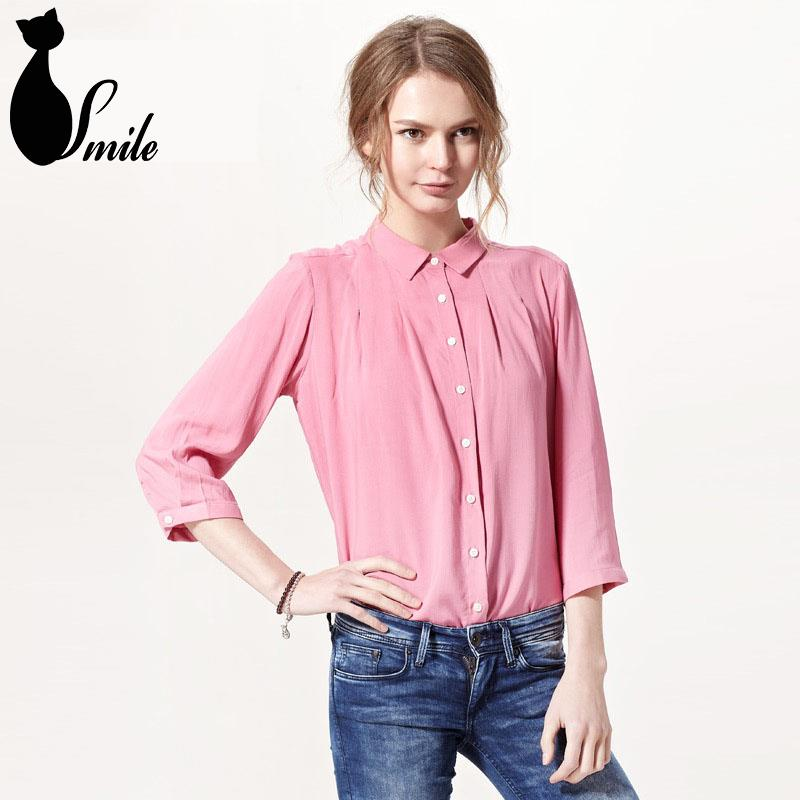 2015 New Spring Women Basic Chiffon Formal Shirt Solid Three Quarter Sleeve Womens Work Blouses ...