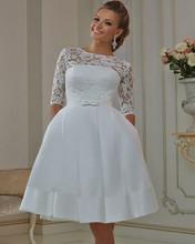 White Ivory New Custom A-line Matched Bow Sash Lace Knee Length 3/4 Sleeve Short Vintage Wedding Dress 2016 Vestido De Noiva(China (Mainland))