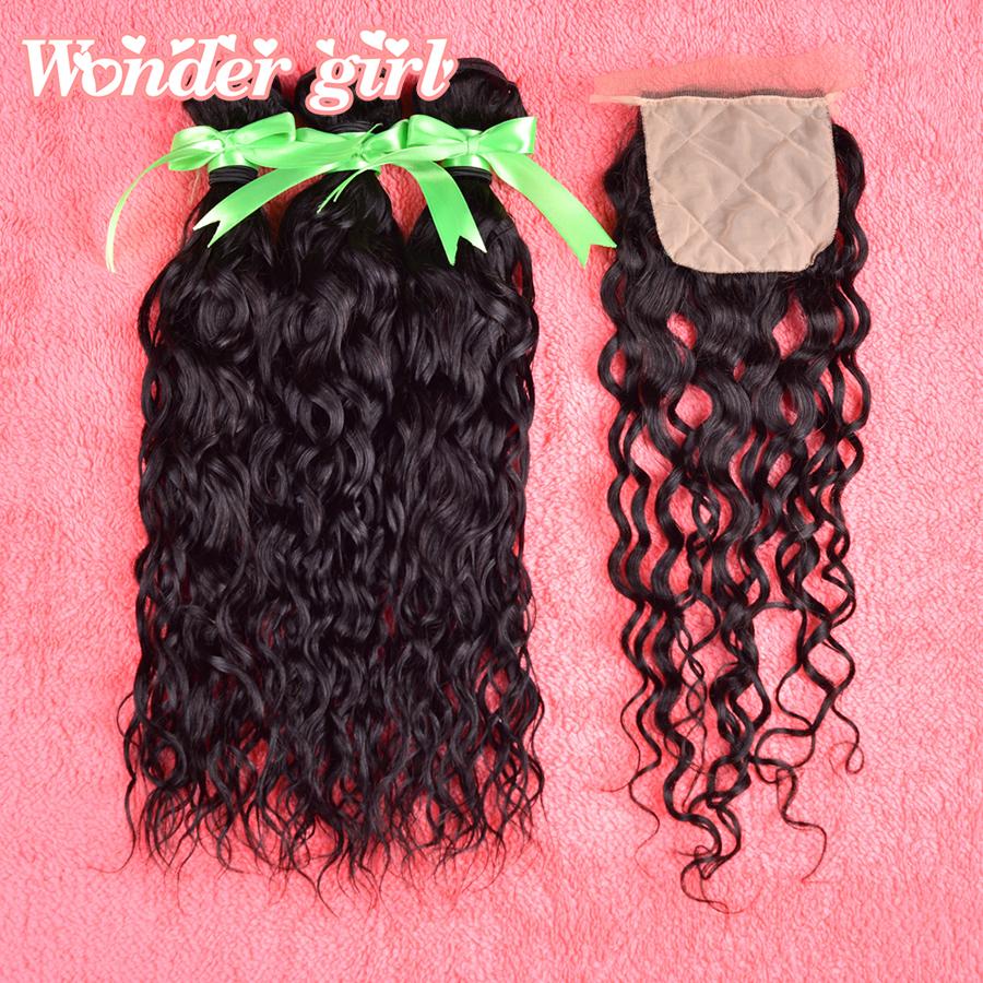 Malaysian Natural Wave With Closure Unprocessed Malaysian virgin hair with silk base closure 100% human hair weave free shipping<br>