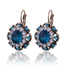 2016 Top Sale Party Vintage Jewelry Fashion Round Flower Stud Earrings Charm Austrian Full Crystals Women Earrings(China (Mainland))