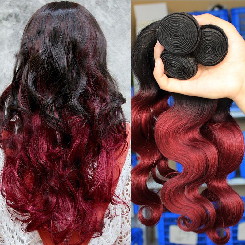 Ombre Brazilian Hair Weave 1b/99J Ombre Human Hair Extensions Burgundy Brazilian Hair 3Pcs/Lot Virgin Brazilian Body Wave