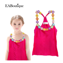 1 PCS Retail New Fashion Summer tanks Candy color flower More design vest for Girls camisoles outwear CX(China (Mainland))