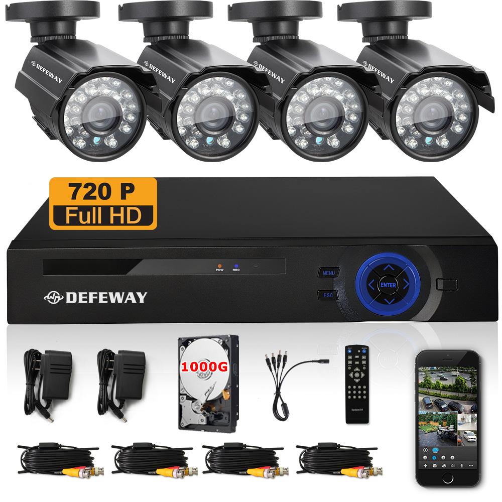 DEFEWAY 720P HD 1200TVL 4 Outdoor Security Camera System 1080P HDMI CCTV Video Surveillance 8CH DVR Kit 1TB HDD AHD Camera Set(China (Mainland))