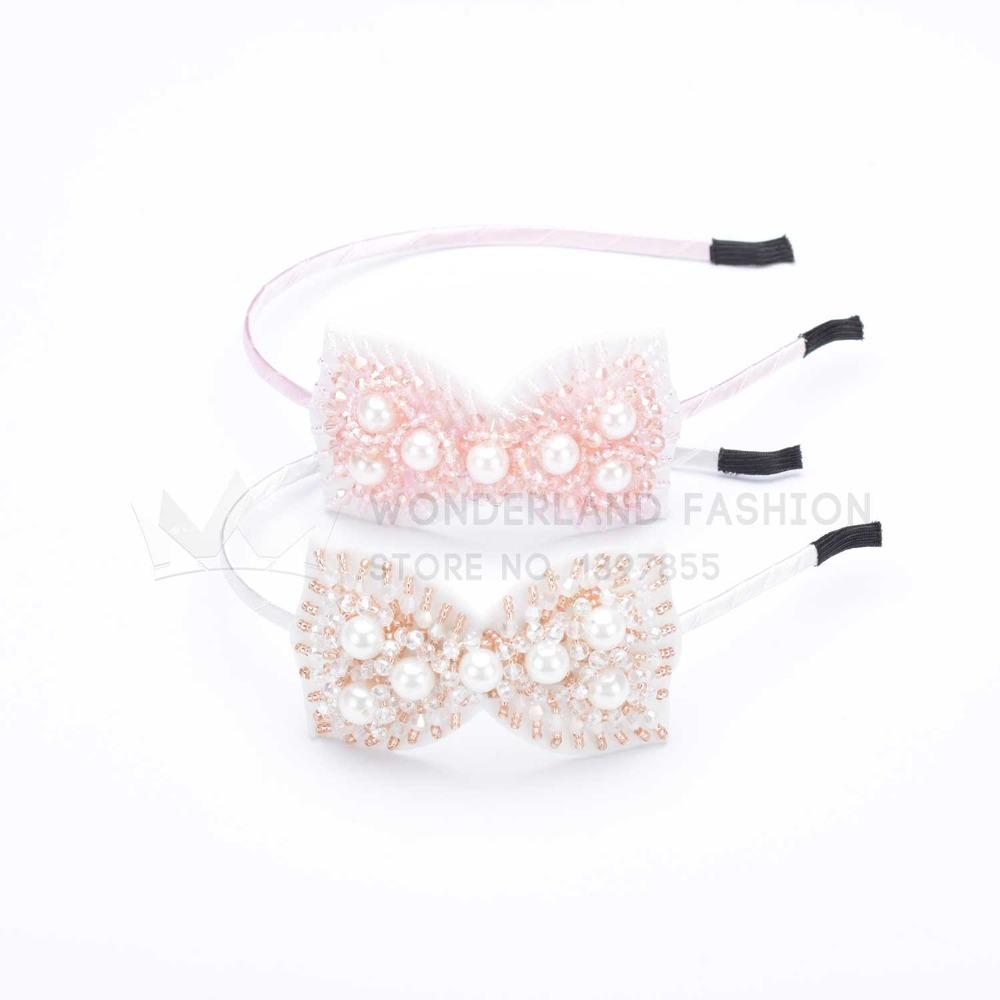 Crystal Stone & Plastic Pearl On Polyester Butterfly Hairband New Fashion Hair Accessories For Women Ladies Girls Children Kids(China (Mainland))