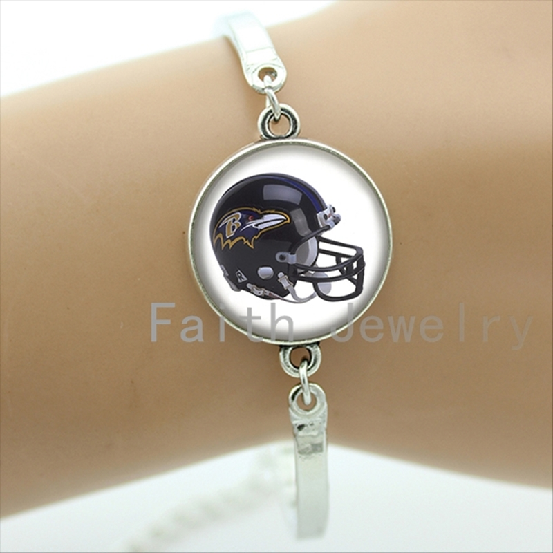 New arrival american football sport helmet image bracelet cool boyfriend gifts case for Baltimore Ravens team bracelets NF163(China (Mainland))