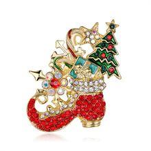Hadiah Natal Kristal Merah Sepatu Boot Bells Natal Bola Bros Bros Pin untuk Wanita Bros untuk Tahun Baru Terbaik hadiah(China)