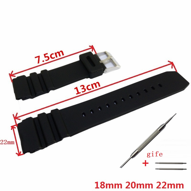 18mm 20mm 22mm Black Silicone Watch Band High Quality Rubber Wristwatch Strap Stainless Steel Pin Buckle + 2 Spring Bars(China (Mainland))