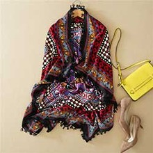 Yeeshan Geometric Print Scarf from India Scarves for Women 114*114 cm Square Bandana With Tassel Shawls Stoles Designer Scarf(China (Mainland))
