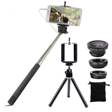 Buy Phone Camera Lenses Kit Fish Eye Wide Angle Macro Lens Wired Selfie Stick Monopod Mini Tripod 6in1 Kit iPhone 6 6s 7 Samsung for $12.50 in AliExpress store