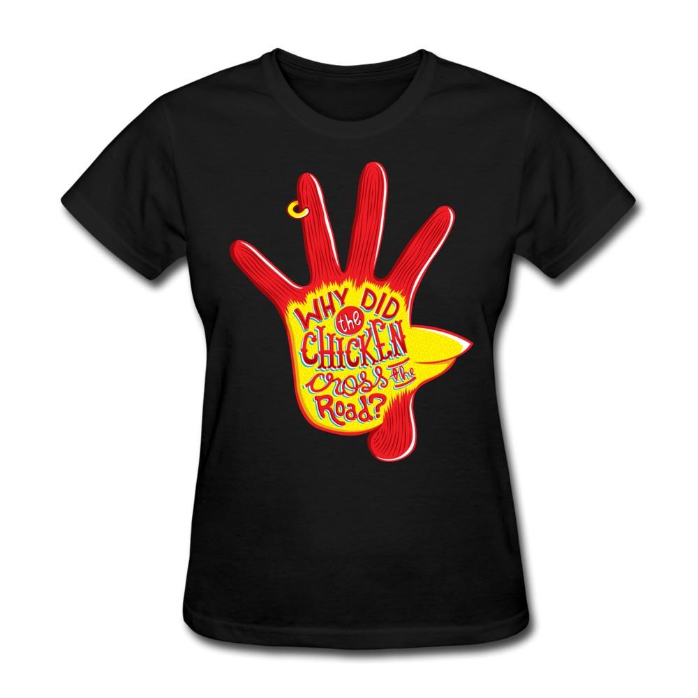 design round neck t shirt womans chicken funny logo women