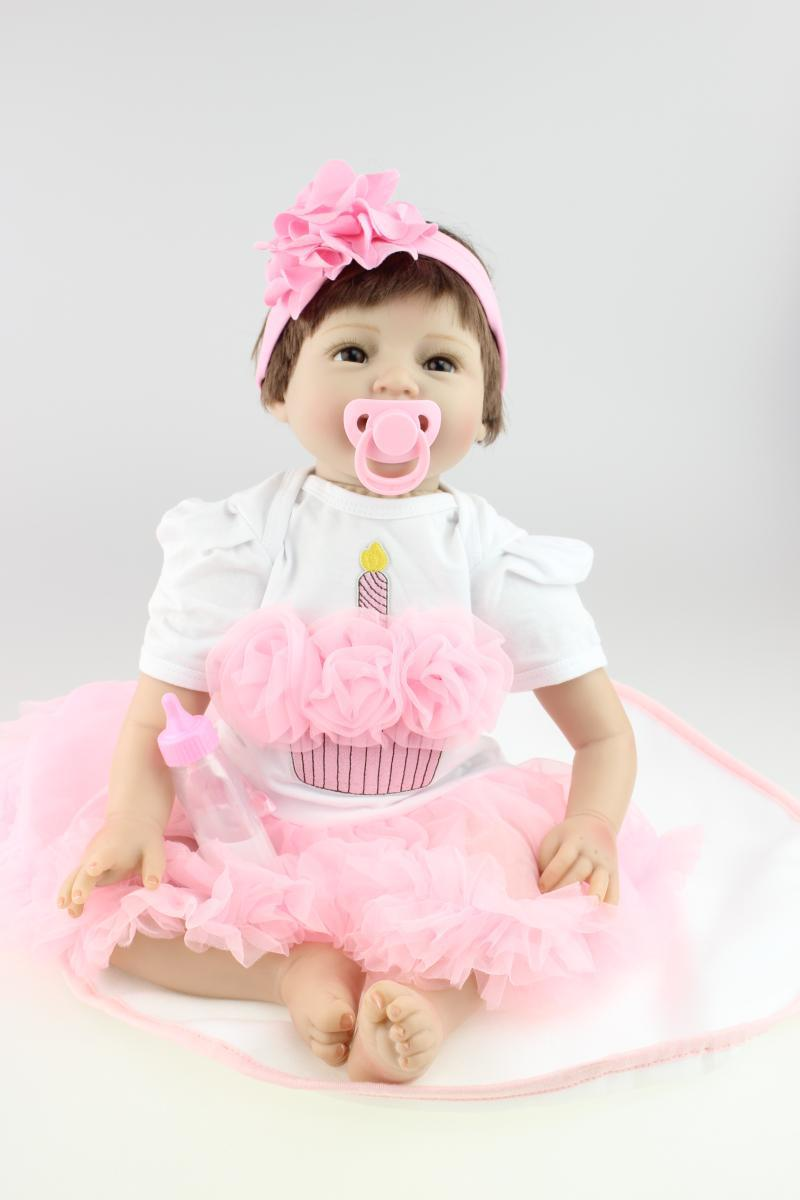 Silicone reborn baby boy doll toys for girl, lifelike doll reborn babies toys for girl pink princess gift brinquedods