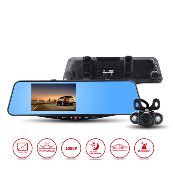 "5.0"" Full HD 1080P GPS Blue Mirror Car camera Rearview Mirror 170 Degree Parking Back Up DVR G-sensor H.264 Dual Lens Car DVR(China (Mainland))"