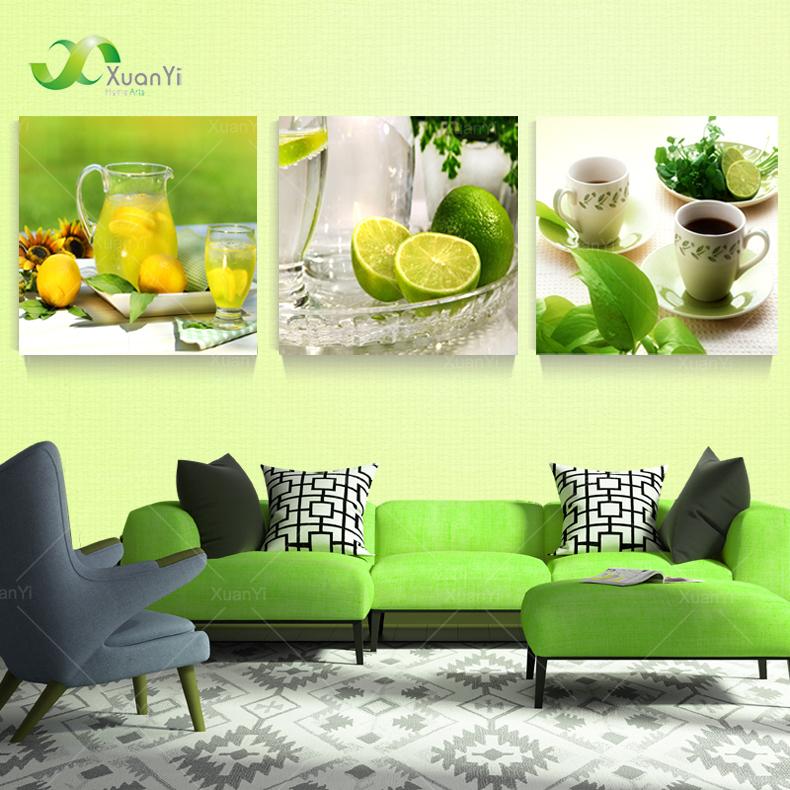 3 панель современные печатные фруктов лимонная картина на холст kicthen декор cuadros пейзаж для гостиной ( без рамки ) pr151