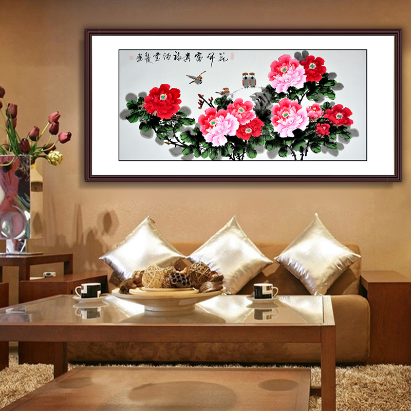 Home decoration Chinese traditional peony flower painting hand-painted scroll painting watercolor drawings art fengshui picture(China (Mainland))