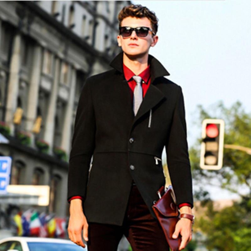 New 2015 Autumn Winter Luxury British Style Wool Coat Men High Quality Turn-down Collar Outwear Warm Jacket Male Wool & Blends