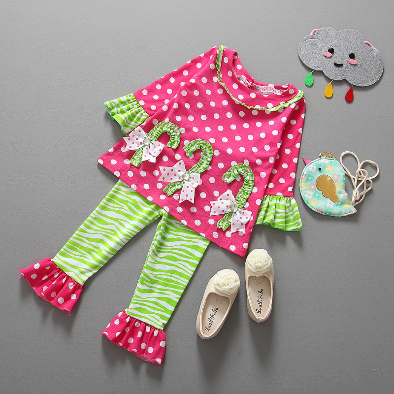 Girls Clothes Sets Cartoon Casual Design Childrens Girls Clothing Suit Kids Costume T Shirt Pants Christmas Wear TZ567(China (Mainland))