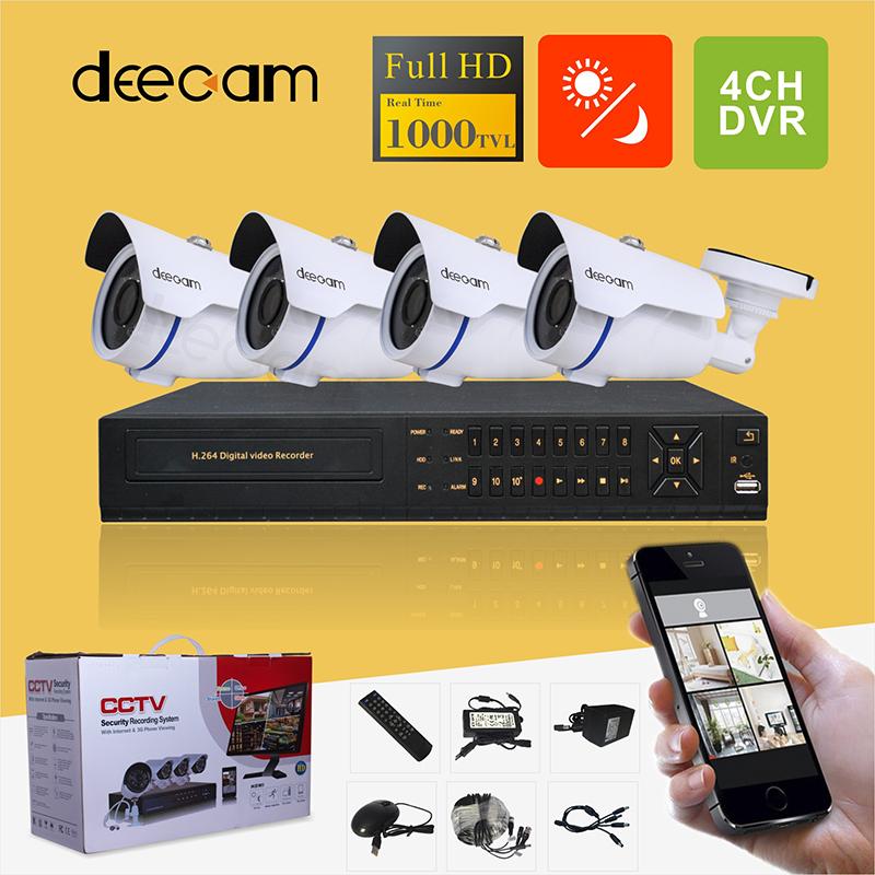 Deecam Home Security System DVR 4 Channel HDMI 960H 4 Outdoor High Resolution DVR 1000TVL CCTV Surveillance System Kit(China (Mainland))