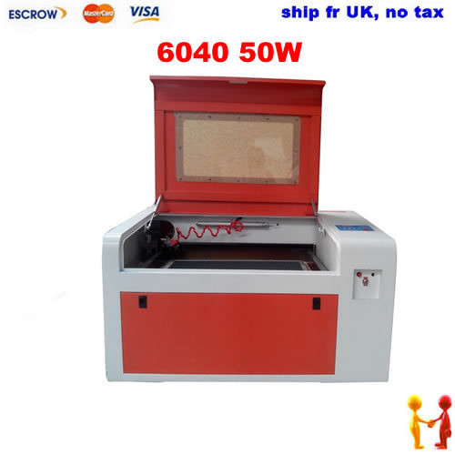 Ship fr UK, no tax. LY 6040 50W CO2 Laser Engraving machine,220V Super quality laser CNC router with rotary axis<br>