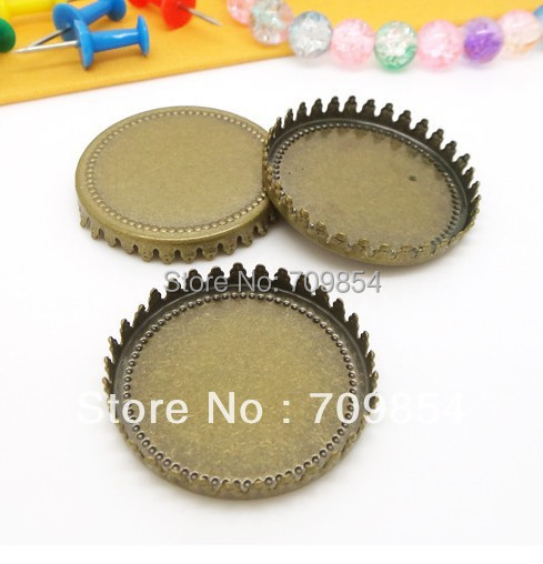 free shipping!!! 200pcs/lot 30mm pad antique bronze crown cabochon setting pendant tray jewelry findings