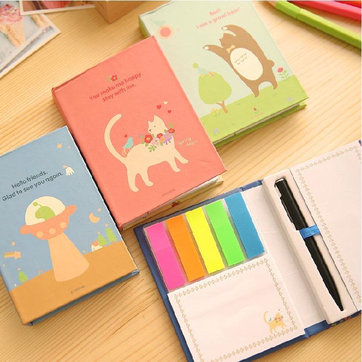 """Animal Island"" 1 PC Cute Sticky Note Memo With Pen Pocket Kawaii Post-It Sticker Adhesive Memo Pad(China (Mainland))"