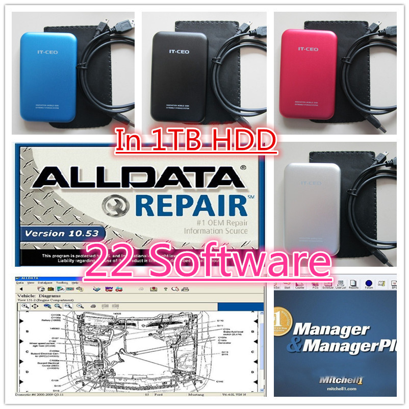 22 in 1 alldata auto repair software alldata 10.53+Mitchell software 2014+Vivid work shop+manager plus ect 22 in 1000GB HDD(China (Mainland))