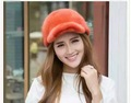 Imported mink fur the whole fur leather baseball cap female model