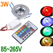 85~265V 3W RGB led Light lamp Multi-colors led Downlight downLamp with Remote Control ceiling lamp Spot light (China (Mainland))