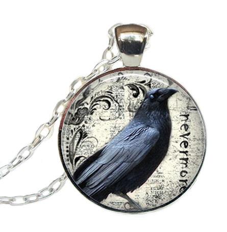 Poe's Raven pendant, raven necklace Poe Nevermore Goth jewelry literary pendant, raven jewellery(China (Mainland))