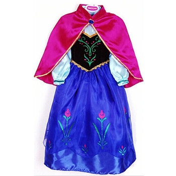 Drop shipping Retail summer dress 2014 New Girls clothing Anna Blue Movie Dress + Red Cape Girl Princess Dresses party costume