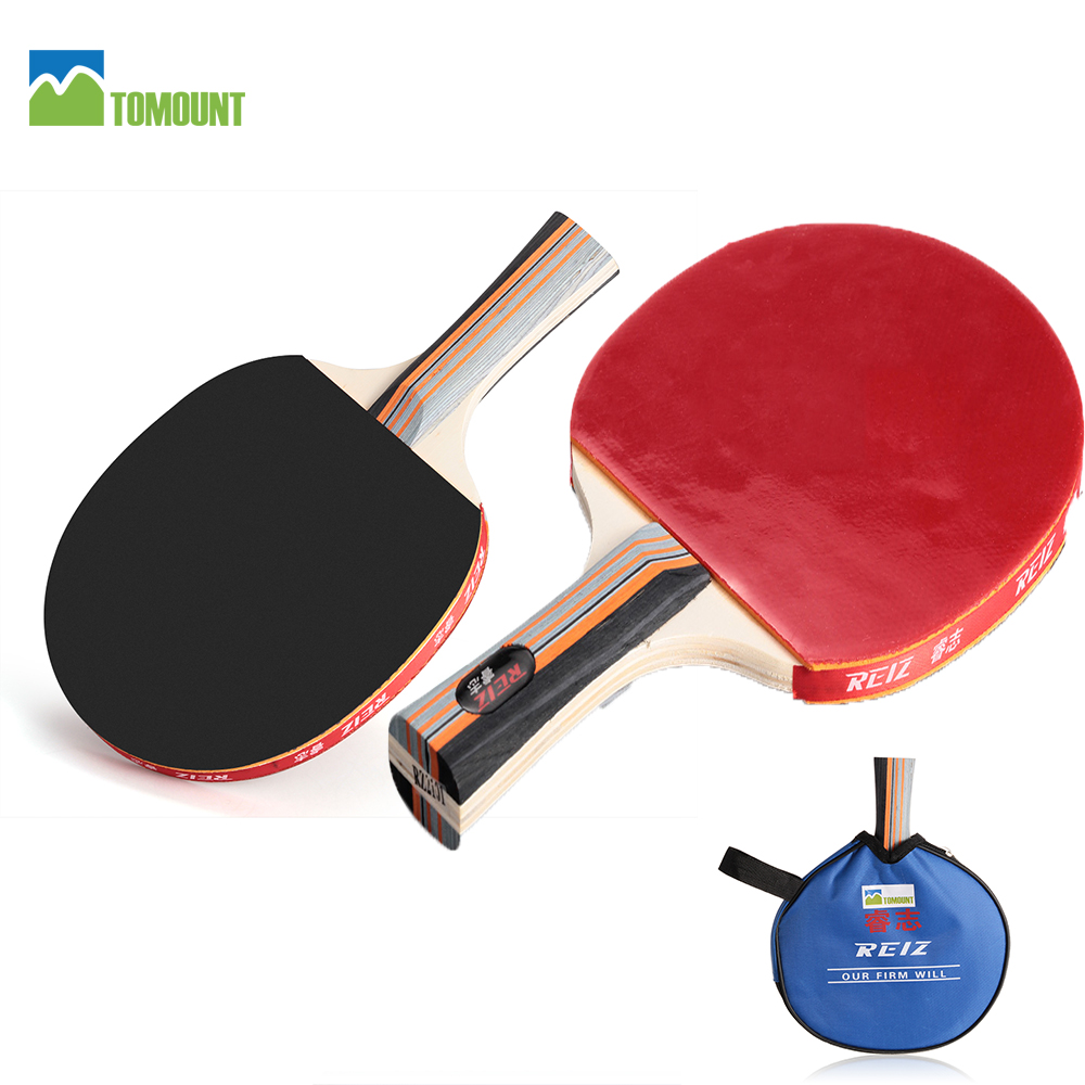 REIZ Table Tennis Ping Pong Racket Paddle Bat with Bag Cover Sports Training Black or Red Wood Handle with Bag Rackets with Case(China (Mainland))