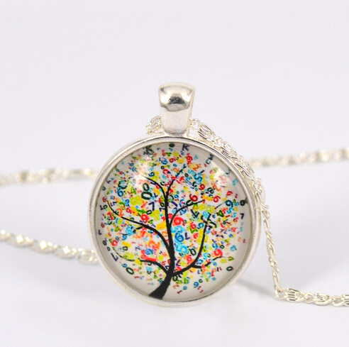 1pc/lot Tree pendant necklace life tree glass cabochons silver color chain necklace fashion jewelry women necklace(China (Mainland))