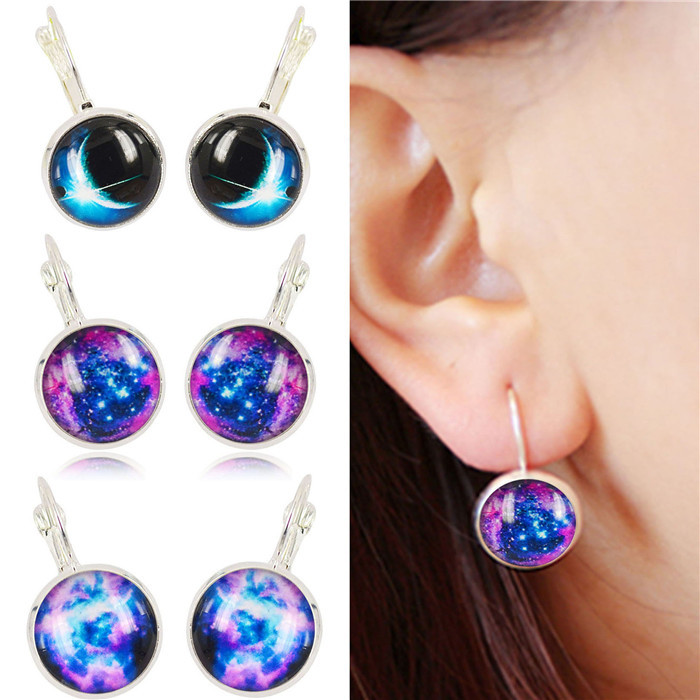 Galaxy Earring Space Silver Plated French Lever Back Earrings Unique Girl Gift