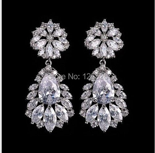 celebrity Style Brand Jewellery White Topaz Gem 10KT Gold Filled Earrings Hot Gift(China (Mainland))