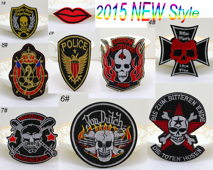 9 mode hybrid skulls embroidered iron on patch. sewn on / Gothic Punk Pirate Flag Tags Badges Clothing applique free shipping(China (Mainland))