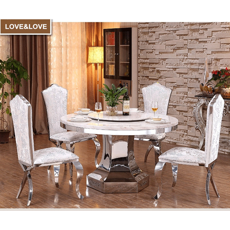 White marble top round dining table with stainless steel frame 1350*1350*750mm(China (Mainland))