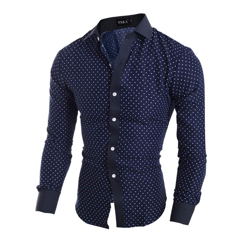 Popular Mens Shirt Blue with White Dot-Buy Cheap Mens Shirt Blue ...