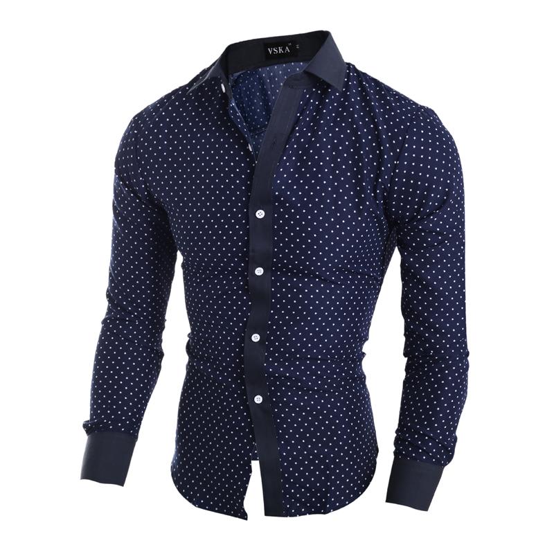 Popular Mens Shirt Blue with White Dot-Buy Cheap Mens Shirt Blue ...