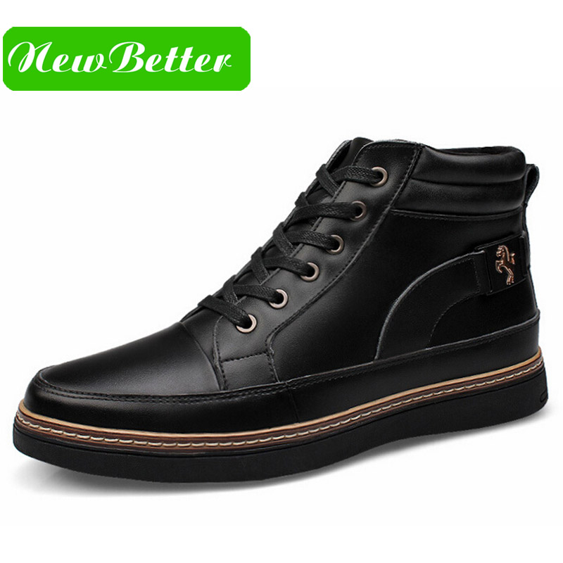Work boots sewing genuine leather men boots fur brand black brown solid platform lace up men winter shoes(China (Mainland))