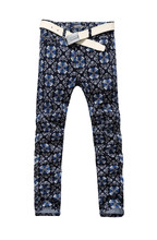 Hot! 2015 New Mens Fashion Personality Dark Blue Cross Figure Flower Print Jeans Slim Male Trousers Brand For Men Free Shipping(China (Mainland))