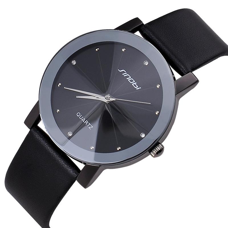 JW533 Top Sale SINOBI Diamond Crystal Silver Case Elegant All Black Men Quartz Wrist Watch Gift Men's Leather Strap Watches(China (Mainland))