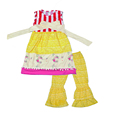 Factory Direct Sale Girls Spring Summer Dress Lace Ruffle Top Fresh Yellow Pants Kids Boutique Sets