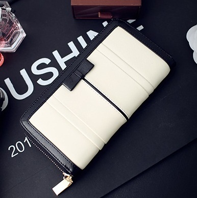 Women long Wallets Classic Purse Woman Bags Fashion 2014 Designers Standard Black and White Large Zipper