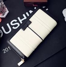 Женщины кошельки Классический кошелек женщина мешки Мода 2014 Дизайнеры Стандартный черный и белый Большой молнии Кошелек для девочек