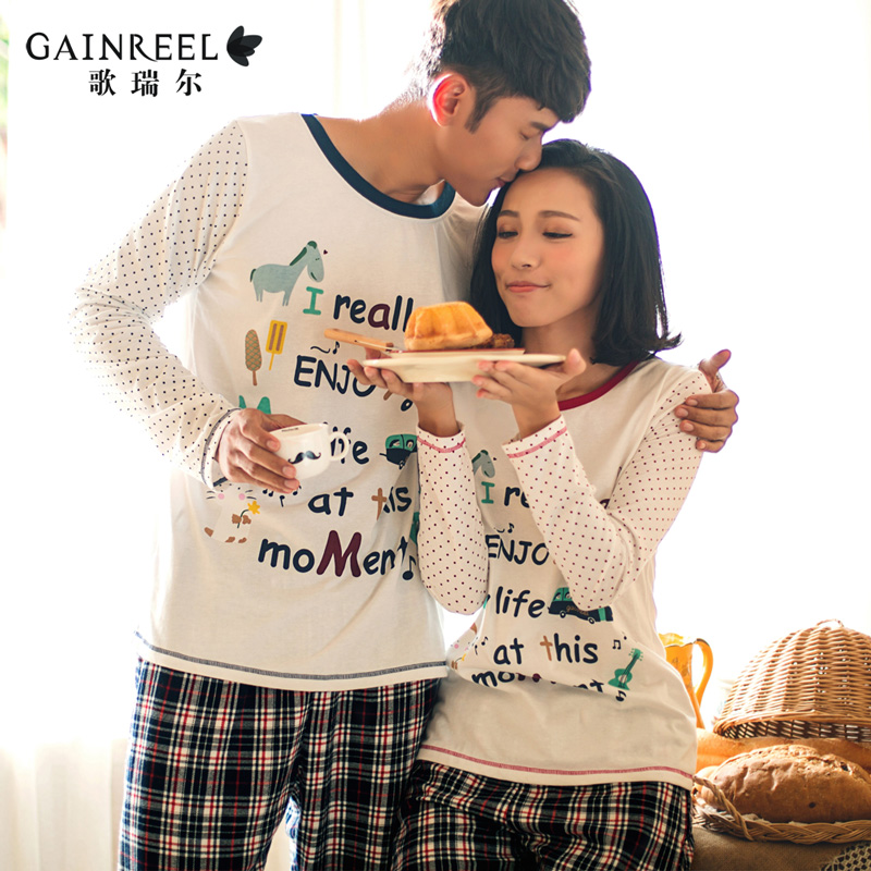 Spring Song lovely month of men and women couple long sleeved cotton pajamas home service package